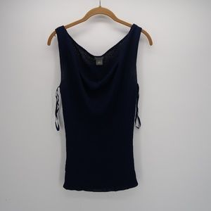 Ann Taylor Blue Cowl Neck Sleeveless Knit Top M